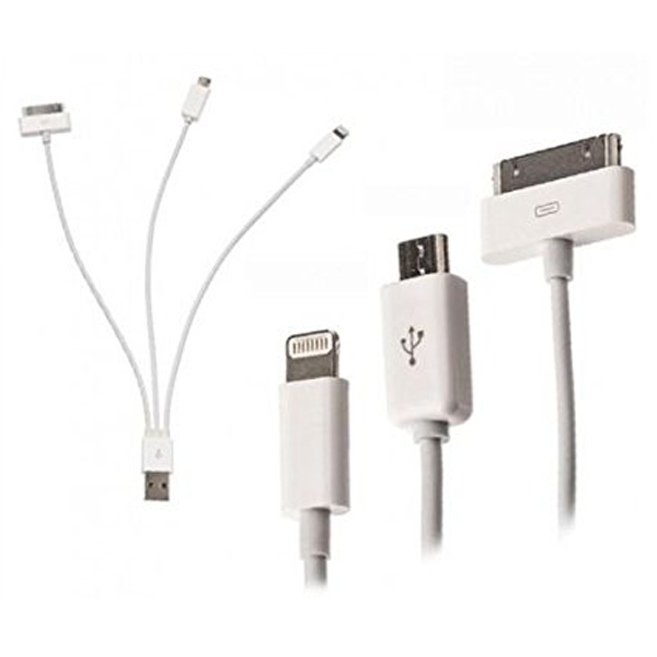 3 in 1 Multi USB kábel (8 Pin/30 Pin/micro USB)